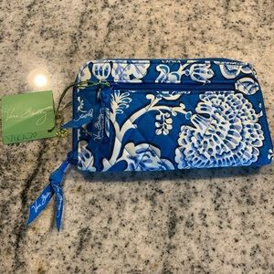 Vera Bradley Blue lagoon zip around wallet retired